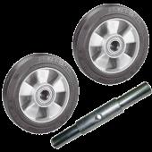 Комплект из двух колёс D200 PFAFF (ступица 60мм) и оси 25-316 (длина 190мм) для рохли