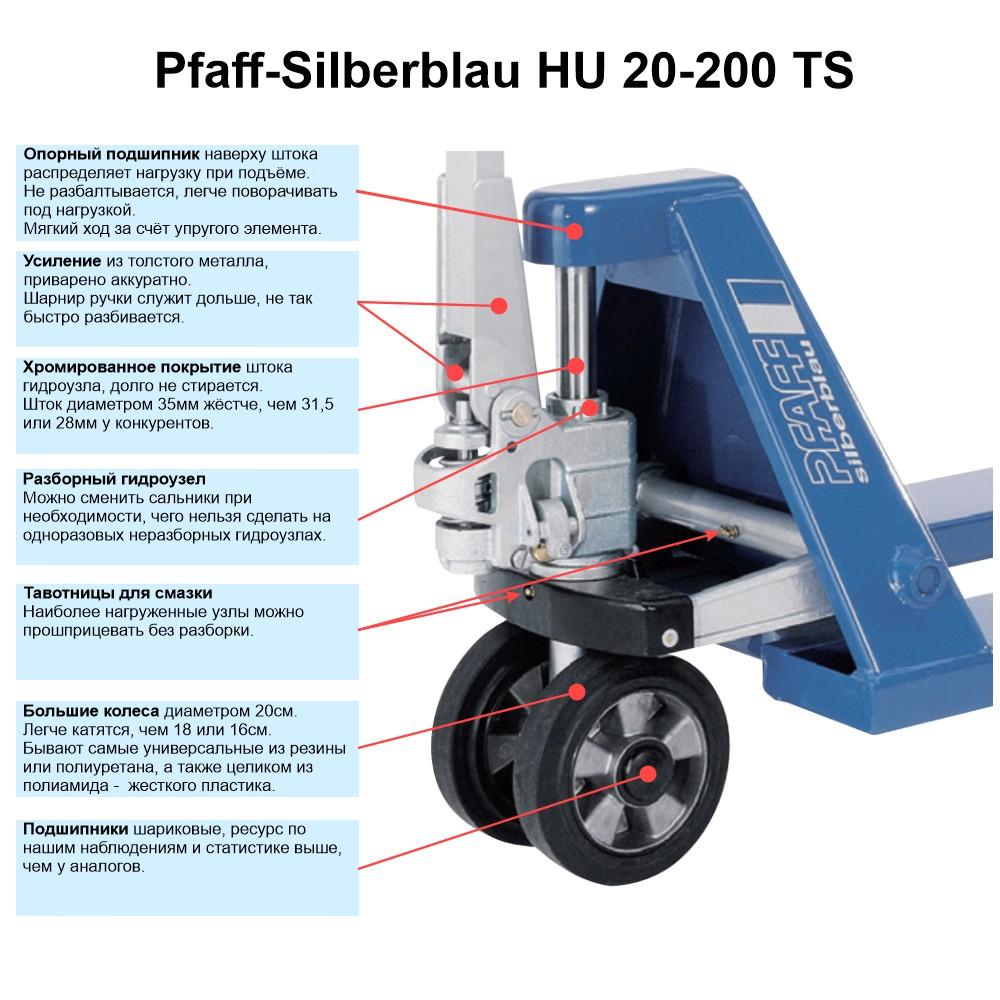 Гидравлическая тележка PFAFF HU 20-200 TP (Proline) с длинными вилами (2000 мм)особенности